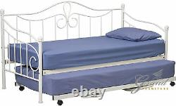 Morgan White Metal Day Bed with Trundle French 3FT Single Guest Bed Frame