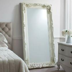NEW Louis Large Carved French Wall Leaner Mirror Ivory BELFAST COLLECTION ONLY