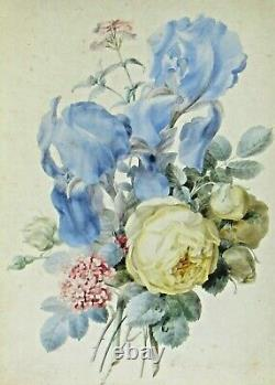 OLIMPE ARSON (French 1814-1870) Floral Bouquet with White Rose watercolor vellum