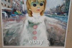 Original A. Benoit Oil Painting Young Girl White Dress Cityscape French Style
