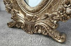 Ornate French Cheval Mirror Free Standing Champagne Engraved Design 55x165cm