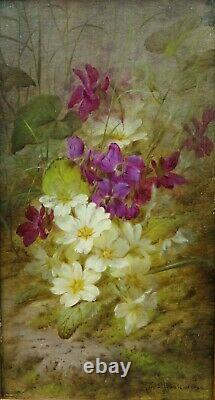 Painting Flowers Guibault Purple White 19th Painting French Small Panel