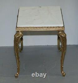 Pair Of Lovely Circa 1900 French Brass Framed Side Tables Italian Marble Tops