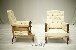 Pair of 19th century French armchairs with mahogany frame
