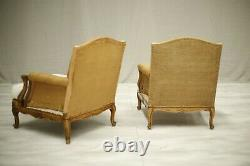 Pair of c. 1900 Carved frame French armchairs