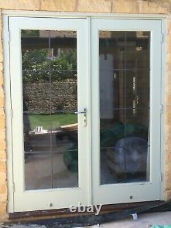 Pair of hardwood patio french doors with frame double glazed brill