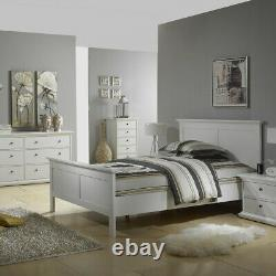 Paris Retro French Style Double Bed Frame Bedstead (140 x 200) in White