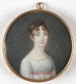 Portrait of a lady in white empire dress, French miniature, 1800/1810