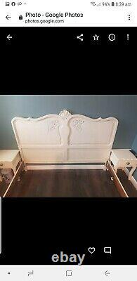 Pretty vintage French carved oak Louis XV King Sized Bed frame
