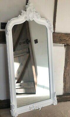 Quality Large Ornate Matt White French Arch Period Over mantle Wall Mirror 5ft