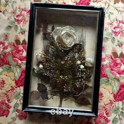 Rare Old FRENCH MEMORY CASKET Communion / Wedding WHITE Fabric ROSES & WAX BUDS