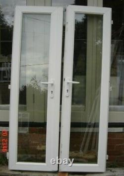 Reclaimed pair white UPVC French doors frame & sill double glazed Essex