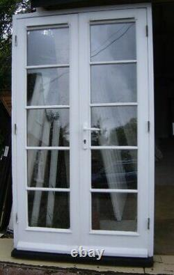 Reclaimed pair white wooden French doors & frame double glazed + vented Essex
