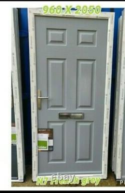 SOLIDOR TENBY SOLID FRENCH GREY COMPOSITE DOOR IN WHITE uPVC frame 960 X 2050