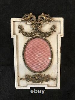 Set of 2 Antique French Wood & bronze bow top picture frames-306e