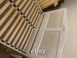 Shabby chic bed frame rattan headboard french style white bed frame
