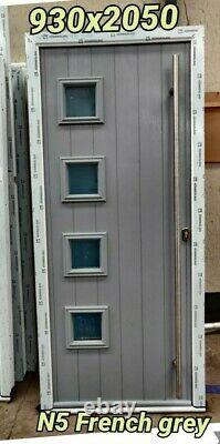 Solidor Milano French Grey Door In White Upvc Frame 930 X 2050