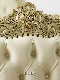 Super king size bed frame Bryanna French Baroque style gold leaf faux leather ch