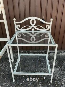 Super king white French Bed Frame With Matching Bedside cabinets Solid Metal