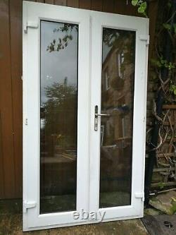 Used white upvc French door /double door with frame