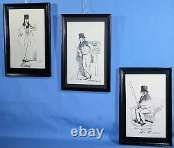 VINTAGE SET OF 3 FRENCH BLACK & WHITE ETCHINGS FRAMED withMATS 11 3/4 x 7 3/4