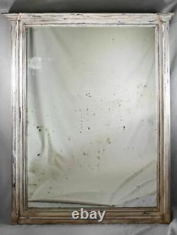 Very large antique French mirror with wooden frame 50½ x 62½