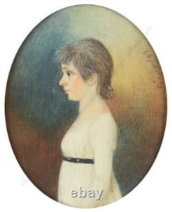 Viandot (French artist) Girl in white gown, miniature, late 1790s