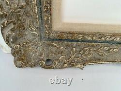 Vintage FRENCH IMPRESSIONIST STYLE Carved & Painted Picture Frame for 24 x 36