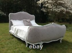 Vintage French Double Bed Frame Demi Corbeille Grey White French Louis