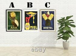 Vintage French Food Advertising Art Print Poster Set. Choice of 3 Prints