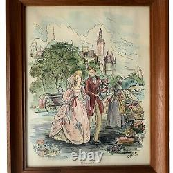 Vintage Mid Cent Pair Sears Roebuck French Victorian Watercolor Couple on Street