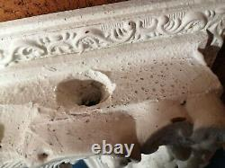 Vintage Very Large French Moulded Carved Framed White Mirror