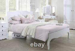 White 5ft Bed King Size French Bed Frame. Wooden Bed Headboard Romance TrueWhite