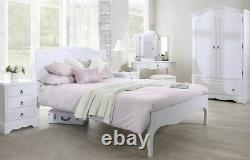 White Double Bed 4ft6 Wooden French Bed Frame Headboard ROMANCE BedroomFurniture