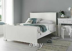 White Wooden French Style King Bed Frame Dressing Table & Stool Wardrobe