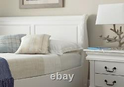 White Wooden Sleigh Bed Frame French Bedroom Style Solid Wood