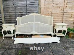 Willis & Gambier Ivory Rattan French 6ft Super King Bed Frame & Bedside Tables