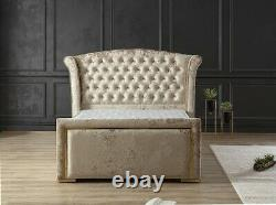 Winged bed frame upholstered double king wingback -scroll sleigh 76