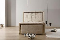 Winged bed frame upholstered double king wingback -scroll sleigh 98