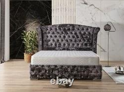 Winged bed frame upholstered double king wingback -scroll sleigh queen