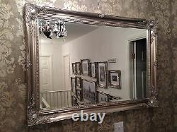 X LARGE Antique Silver Shabby Chic Ornate Decorative Wall Mirror FREE POSTAGE
