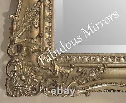 X LARGE BLACK Ornate Decorative Carved Wooden Wall Mirror FREE FAST POSTAGE