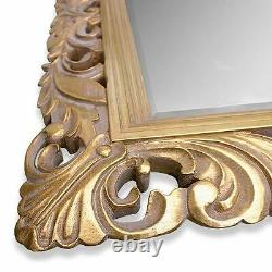X Large 48 x 36 LG French Carved Decorative Bevelled Mirror 6.5 Wide Frame