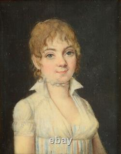 Young lady in white dress, French miniature, ca. 1800